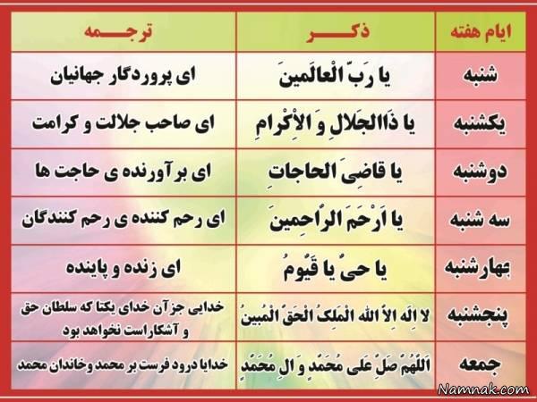 ذکر و دعای ایام هفته به همراه معنی و ترجمه فارسی