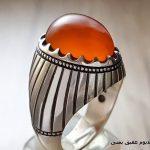 انگشتر فدیوم مردانه سنگ عقیق یمنی پرتقالی رنگ تراش دامله
